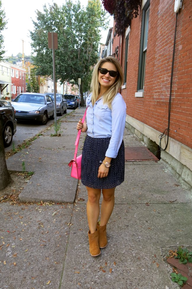 almost getting it together: madewell skirt, AEO chambray shirt, kaye spade bag, dv booties; raybansImage
